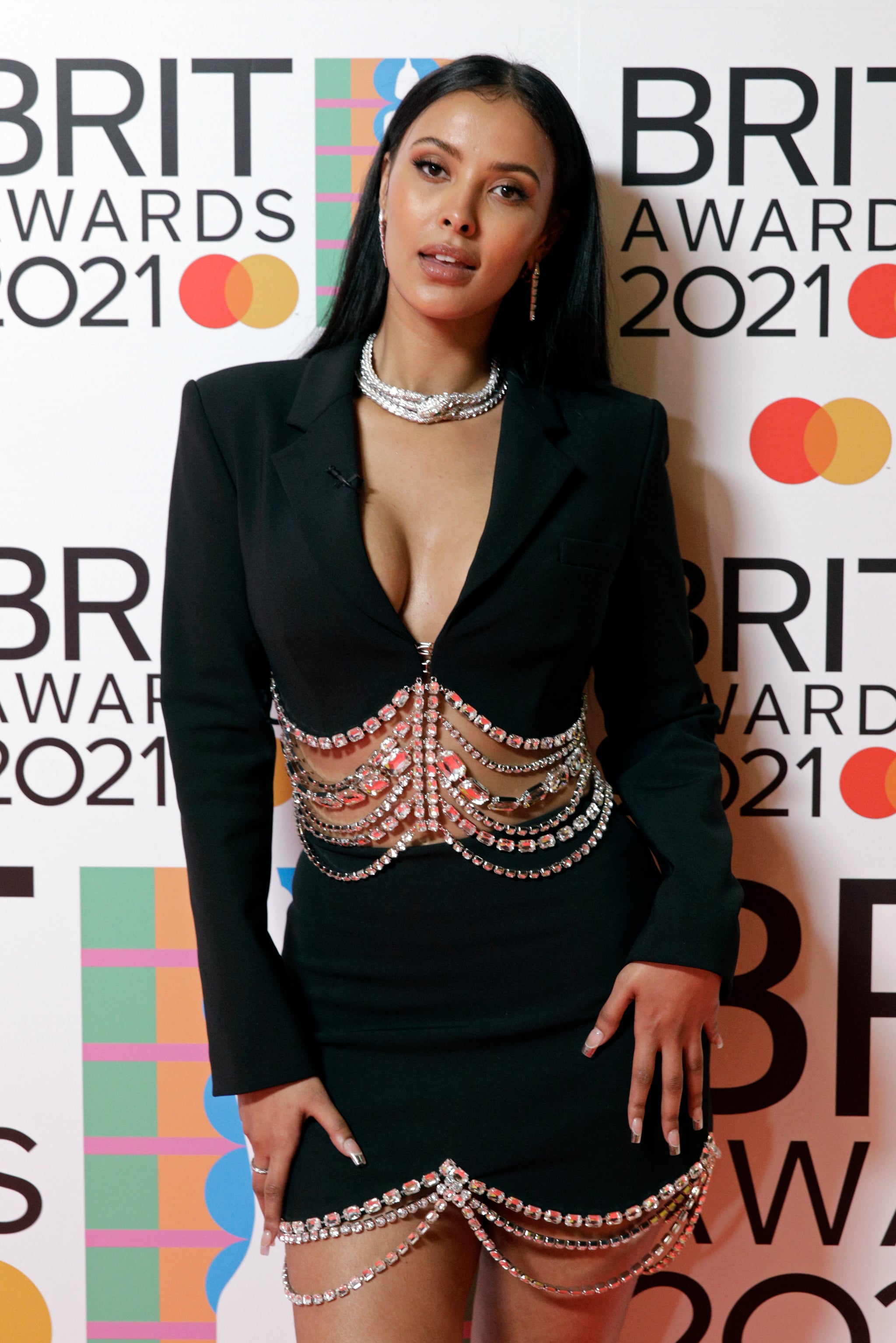 LONDON, ENGLAND - MAY 11: Maya Jama poses in the media room during The BRIT Awards 2021 at The O2 Arena on May 11, 2021 in London, England. (Photo by JMEnternational/JMEnternational for BRIT Awards/Getty Images)
