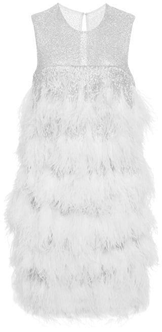 Naeem Khan Ostrich-Feather Dress