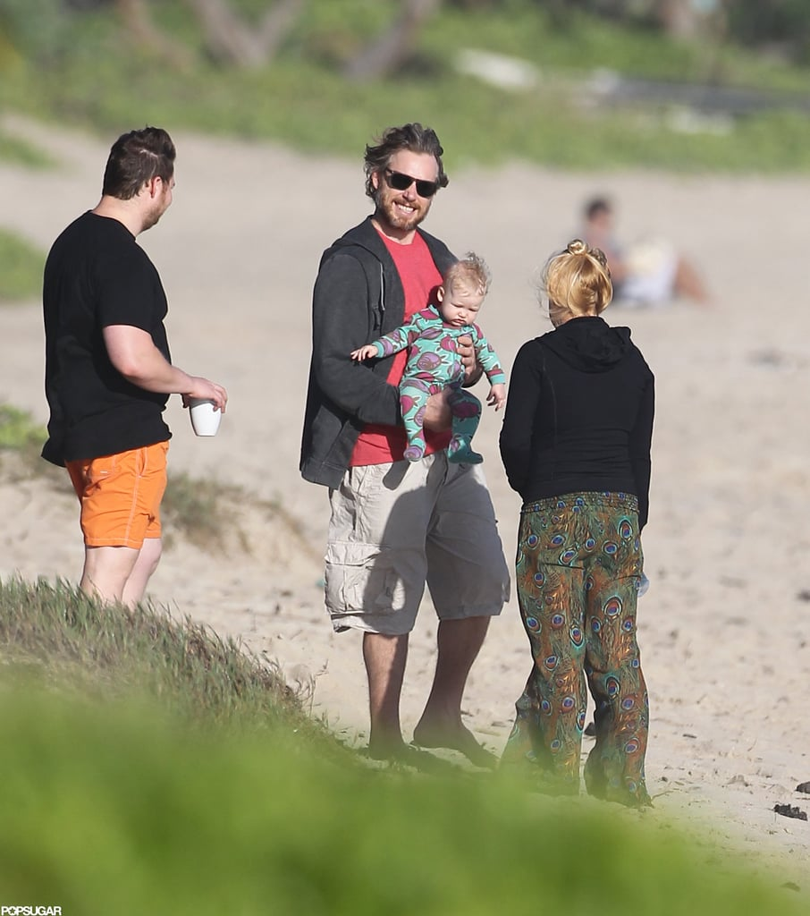 Eric Johnson and Maxwell on the Beach in Hawaii