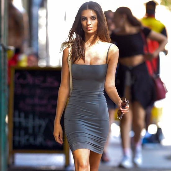Emily Ratajkowski Gray Dress With Yeezy Sneakers