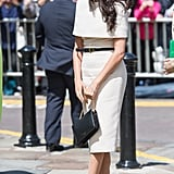 Meghan Markle Work Outfit Idea: A Cream Dress With a Belt