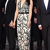 Kristen Stewart stepped out in a green embellished gown, which she also belted, at this year's Cannes Film Festival.