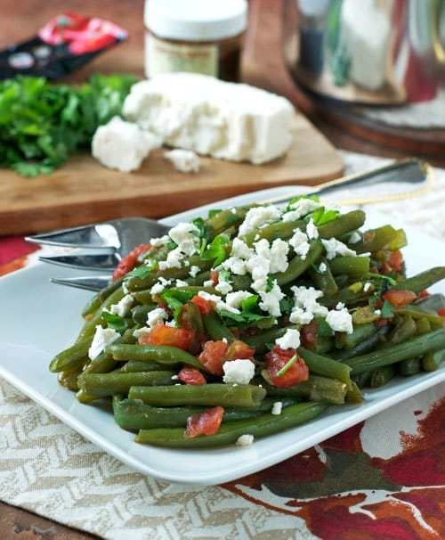 Spicy Braised Green Beans With Feta