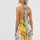 ASOS DESIGN Floral Backless Halter Dress