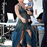 Pink showed skin on set.