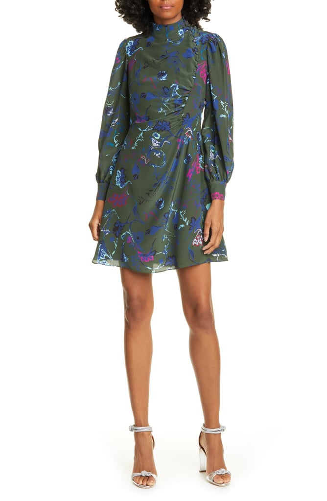 Tanya Taylor Clarisse Floral Button Detail Long Sleeve Silk