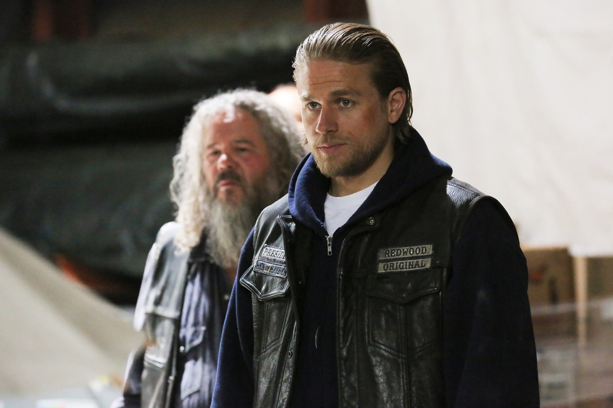 SONS OF ANARCHY, l-r: Mark Boone Junior, Charlie Hunnam in 'Smoke 'em If You Got 'em' (Season 7, Episode 6, aired October 17, 2014). ph: Prashant Gupta/FX/courtesy Everett Collection