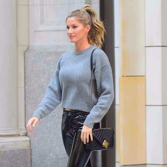 Gisele Bundchen Wearing Leather Pants April 2016