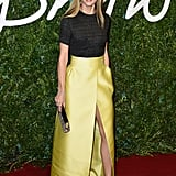 A Bright Yellow Slitted Skirt
