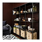 This metal and glass shelf ($79) showcases treasures, artwork, and stacks of books beautifully, all while letting natural light shine through. Two units placed side to side (as shown here) are a great way to fill a large wall.