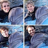 Britney and Charlie took Jayden and Sean to swim with dolphins at The Mirage hotel in Las Vegas in February.