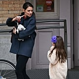 Kartie Holmes talked to Suri Cruise as they walked through NYC.