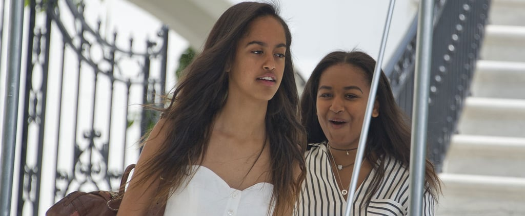 Sasha and Malia Obama Appear to Exchange Hot Gossip While Leaving For Vacation