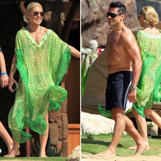 Kelly Ripa Covers Up Her Bikini Body With Shirtless Mark Consuelous