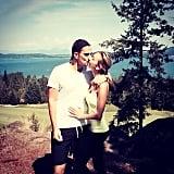 Giuliana Rancic and her husband Bill Rancic shared a kiss during a hike.  Source: Instagram user giulianarancic