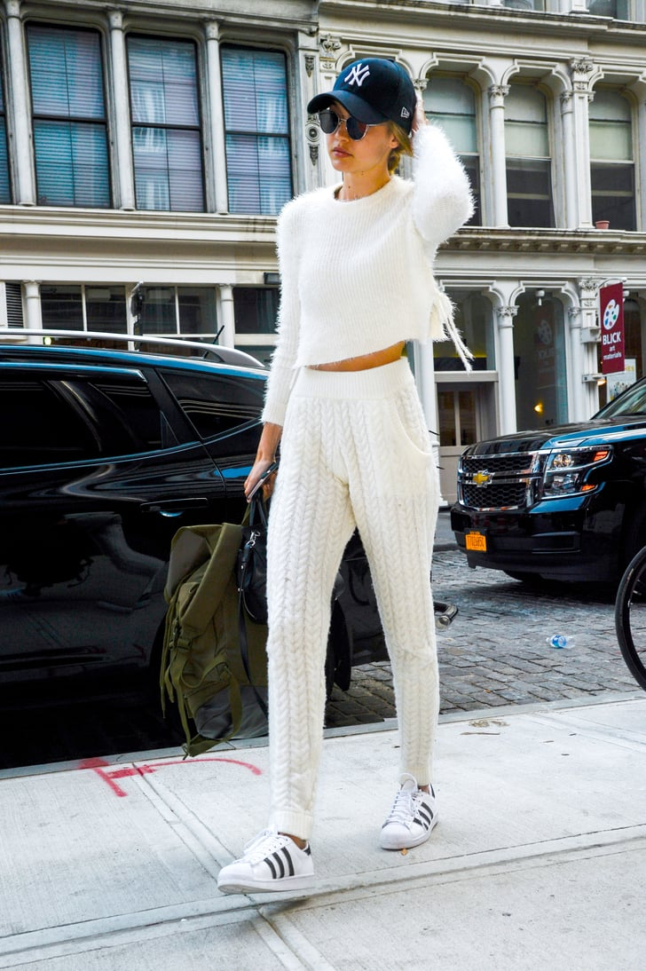 The Model Kept Her White Fuzzy Sweater And Knitted Joggers