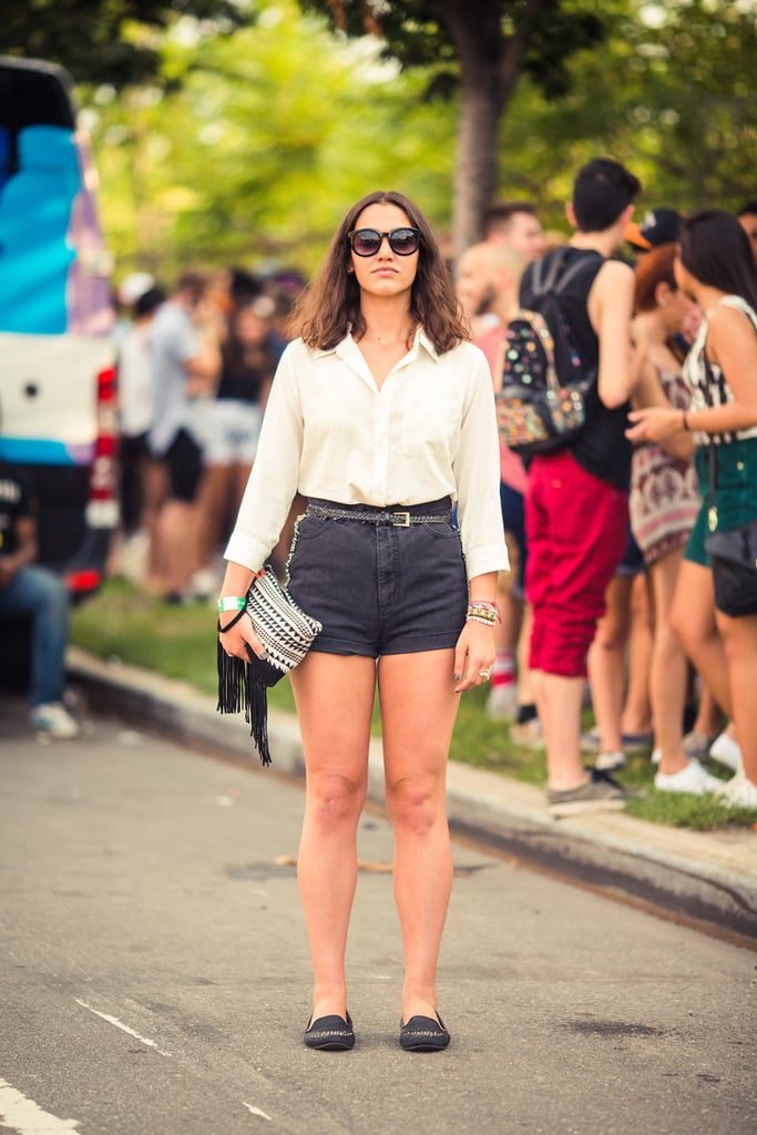 It doesn't take much for notice-me Summer style; just a classic button-down, high-waisted shorts, and an eclectic bag made this look. Source: Bryan Derballa