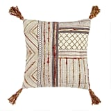 Warm Block Print Throw Pillow With Tassels