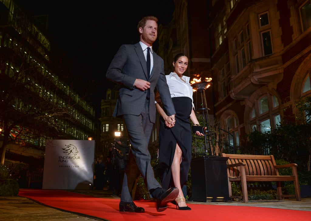 Meghan Markle's Black Aquazzura Heels With Gold Straps 2019