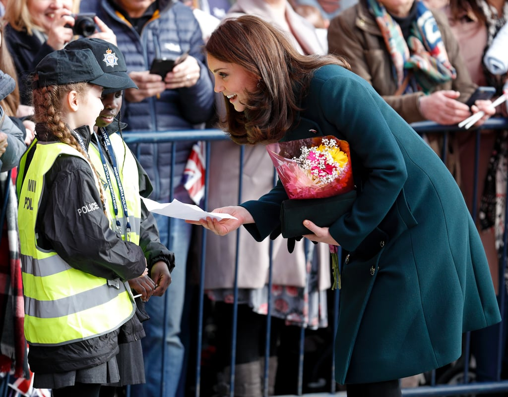 In February 2018, she chatted with a couple of adorable mini police officers during her visit to The Fire Station, one of Sunderland, England's most iconic buildings.