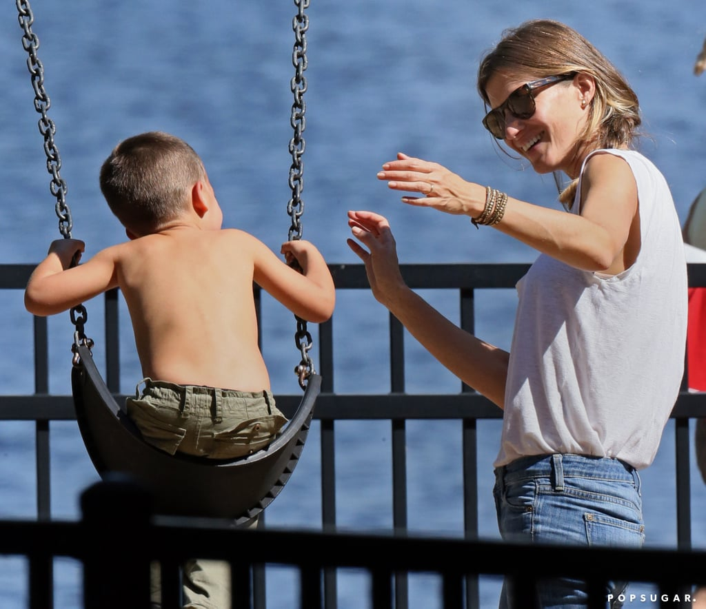 Gisele Bündchen spent time at the park with her kids in Boston.