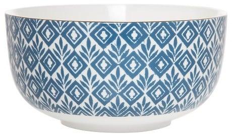 Clay Art Bowl Porcelain Blue Block Print