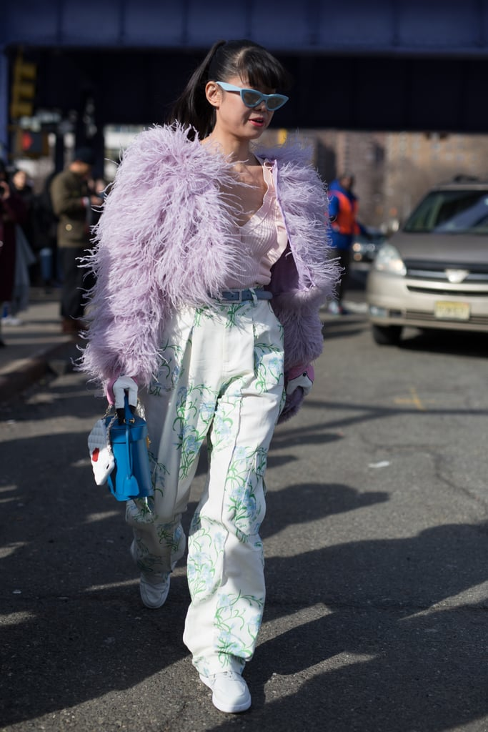 Go the extra mile with a feathery lavender jacket.