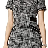 Karen Millen Faux-Leather Trim Tweed Dress
