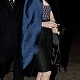 Anne headed into the London afterparty for her film in a cape-adorned Altuzarra strapless.