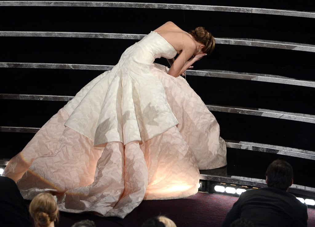 Jennifer Lawrence fell on the stairs while going up to accept her award.