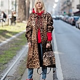 Style Your Leopard-Print Coat With: A Hoodie, Jeans, and a Bag