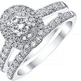 Platinum 1ct Double Oval Halo Bridal Set