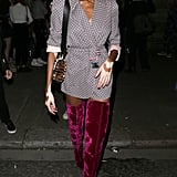 Winnie Harlow Attended the Julien Macdonald Show in a Plaid Blazer and Velvet Over-the-Knee Boots
