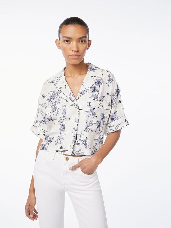 Silk Mixed Toile Hawaiian Shirt