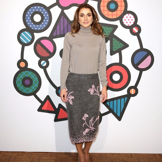 Queen Rania Gray and Pink Prada Skirt