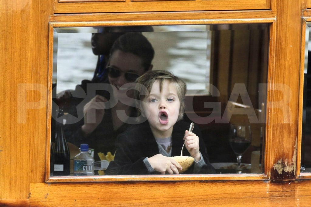 Shiloh Jolie-Pitt played with her food.