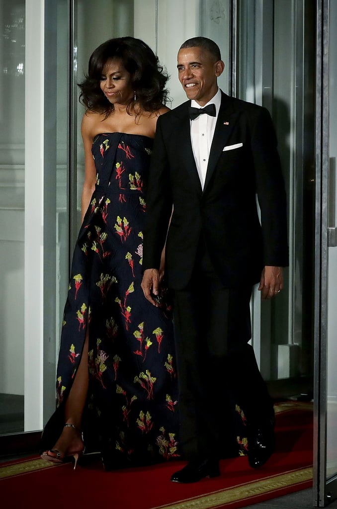 The president and first lady of the United States hosted the first official state dinner of 2016 on Thursday evening, and the pair turned out in their characteristic stunning style. Michelle Obama has been known to turn to her favorite American designers on special diplomatic occasions, selecting a one-sleeved blue Peter Soronen gown for a 2010 event honoring the president of Mexico and a gorgeous sequined Naeem Khan piece for 2011's state dinner with German Chancellor Angela Merkel.  Occasionally, the first lady's selections have had nods to the honoree's home country. In 2011, Mrs. Obama wore an ornate purple gown by Korean-American designer Doo.Ri Chung to a dinner for South Korean President Lee Myung-bak and First Lady Kim Yoon-ok. And last year, a custom black gown by Chinese-American designer Vera Wang was FLOTUS's pick for a state dinner honoring Chinese President Xi Jinping. For Thursday's dinner, which was held in celebration of a visit from the new Canadian Prime Minister Justin Trudeau and his wife, Sophie, Michelle selected a strapless Jason Wu gown — a designer perhaps best known for designing her inauguration looks. Jason was a perfect pick, as he grew up in Vancouver. Mrs. Obama added glossy waves and a pair of earrings to her gown, and this may just be one of her most glamorous looks to date. Take a look. — Additional reporting by Hannah Weil McKinley