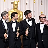 George Clooney, Grant Heslov, Ben Affleck, and Jack Nicholson posed together in the press room.