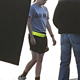 Kristen Stewart wore an Army t-shirt while filming Camp X-Ray in LA.