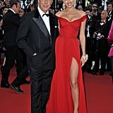 Irina Shayk is the latest starlet to rock a thigh-high slit — this time in a fiery red gown.
