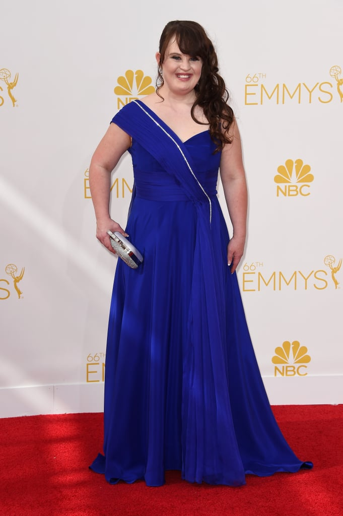 Jamie Brewer was glowing in a gorgeous shade of blue on the red carpet.