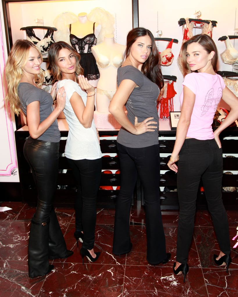 Miranda Kerr, Lily Aldridge, Adriana Lima, and Candice Swanepoel showed off their moves at Victoria's Secret Herald Square in NYC.