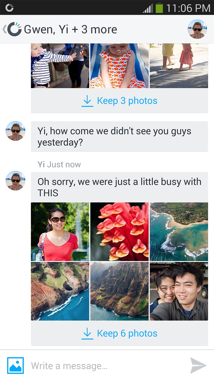 Send photos and messages to multiple friends.