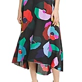Kate Spade New York Floral Collage High/Low Wrap Midi Skirt