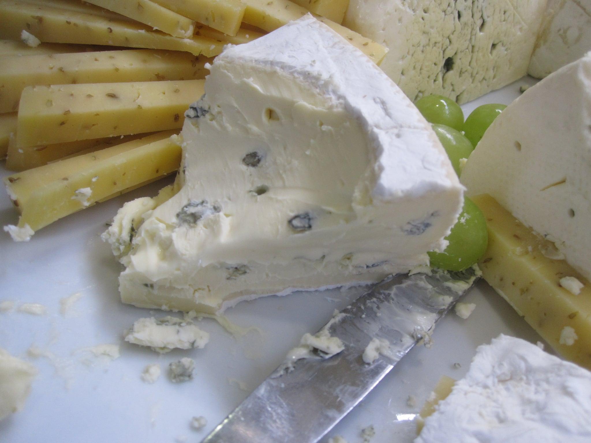 There were huge displays of cheese and bread. After sampling all the cheese, I decided this creamy blue was the best.