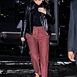 Tailored Trousers and a Leather Jacket in NYC in September 2018