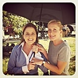 Angela Kinsey and Jenna Fischer stayed cool on the outdoor set of The Office. Source: Instagram user angekinz