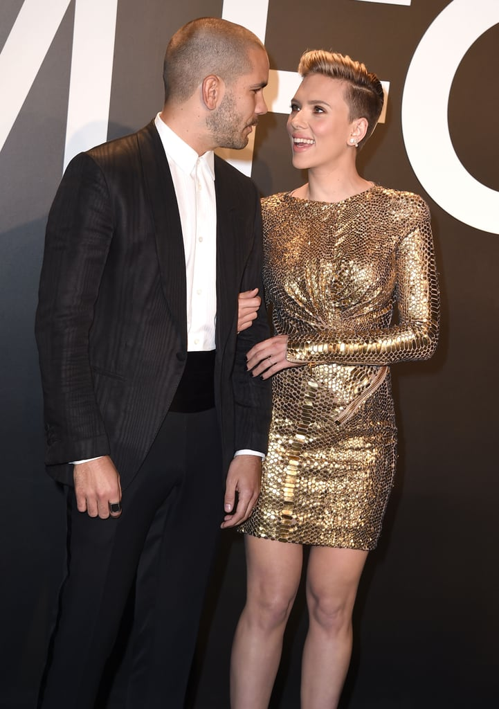 Romain Dauriac and Scarlett Johansson | Celebrities at Tom Ford's Fall 2015 Fashion Show ...