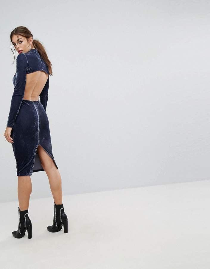 PrettyLittleThing High Neck Open Back Velvet Midi Dress