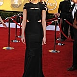 Amber Heard hit the SAG Awards red carpet in a black cutout Zac Posen gown, dressed up with H.Stern jewelry.